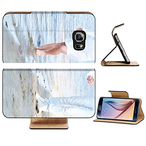 Luxlady Premium Samsung Galaxy S6 Edge Flip Pu Leather Wallet Case IMAGE ID 7352329 blondy girl on the beach with - Glasses Hairstyles Mens