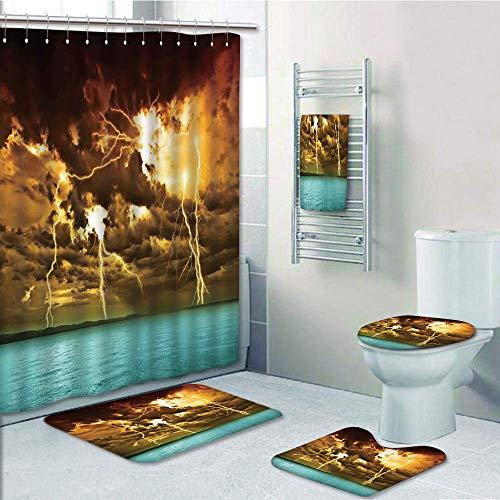 Bathroom 5 Piece Set Shower Curtain 3D Print Customized,Nature,Flash Storm Over The Lake with Large Rain Clouds Miracle Solar Illumination Photo,Blue Yellow,Bath Mat,Bathroom Carpet Rug,Non-Slip,Bath by iPrint