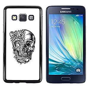 Shell-Star Arte & diseño plástico duro Fundas Cover Cubre Hard Case Cover para Samsung Galaxy A3 / SM-A300 ( Floral Skull Black White Bones Biker )