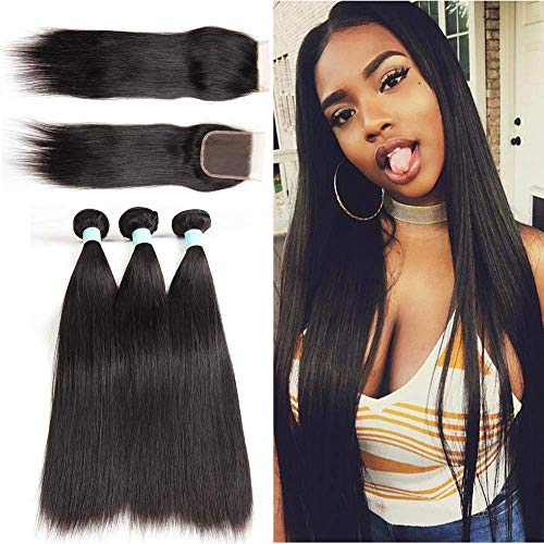 Brazilian Straight Hair Bundles with Closure (12 14 16+12 Free Part) 8A Unprocessed Virgin Human Hair 3 Bundles with Lace Free Part Closure Natural Color