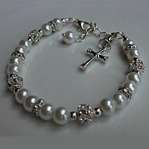 First communion bracelet gift, glass pearl bracelet, girls jewelry