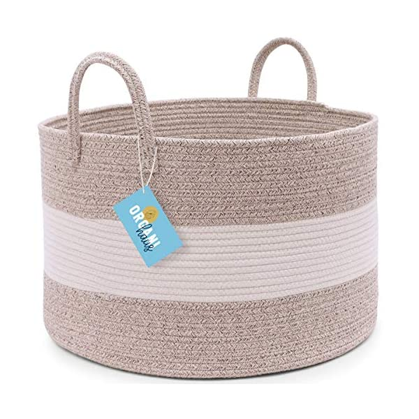 OrganiHaus XXL Extra Large Cotton Rope Basket | 20″x13.5″ Blanket Storage Basket with Long Handles | Decorative Clothes Hamper Basket | Baby and Kids Room Toy Bin | Brown Wicker Blanket Basket