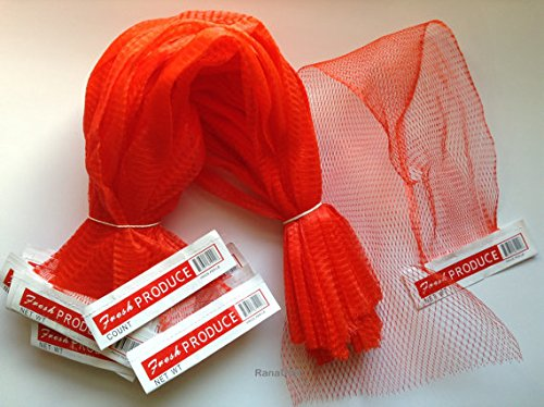 100 pcs Red Net Mesh Bags 25', for Produce, Vegetables, Seafood. Reusable Netting.
