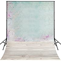 5x7ft Green Flower Wall photography background for childrens backdrop Wood Floor D-9633