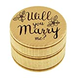 My Personal Memories Wood Ring Box Holder - Ring Bearer Pillow Alternative - Wooden Round Wedding Rings Holder (Will You Marry Me Style - Brown)