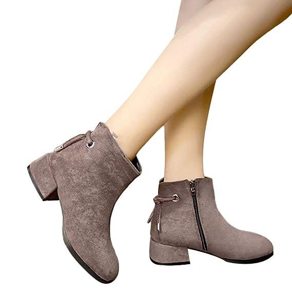 ❤ Botas Cortas Mujer de Invierno con Cremallera, Moda Mujer Punta Redonda Gamuza cuñas Zapatos de Color sólido Botas Botas de Cremallera Absolute: ...