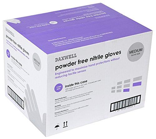 Daxwell Nitrile Gloves, Powder Free, Medium, Indigo (10 boxes of 100 gloves)
