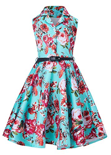 (RAISEVERN Girls Turquoise Party Dress Kawaii Midi Beach Formal Easter Formal Tea Floral Vintage Dress for Big Girl 10-11)