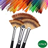 Paint Brush Set Artist Fan Brushes Wood Long Hands for Oil Acrylic Watercolor 6 PCS