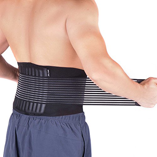 Back Support Belt for Men and Women - Adjustable Back Brace for Lumbar Support - Helps Relieve Lower Back Pain, Treat Sciatica, Scoliosis, Herniated Disc or Degenerative Disc (L/XL, Black)
