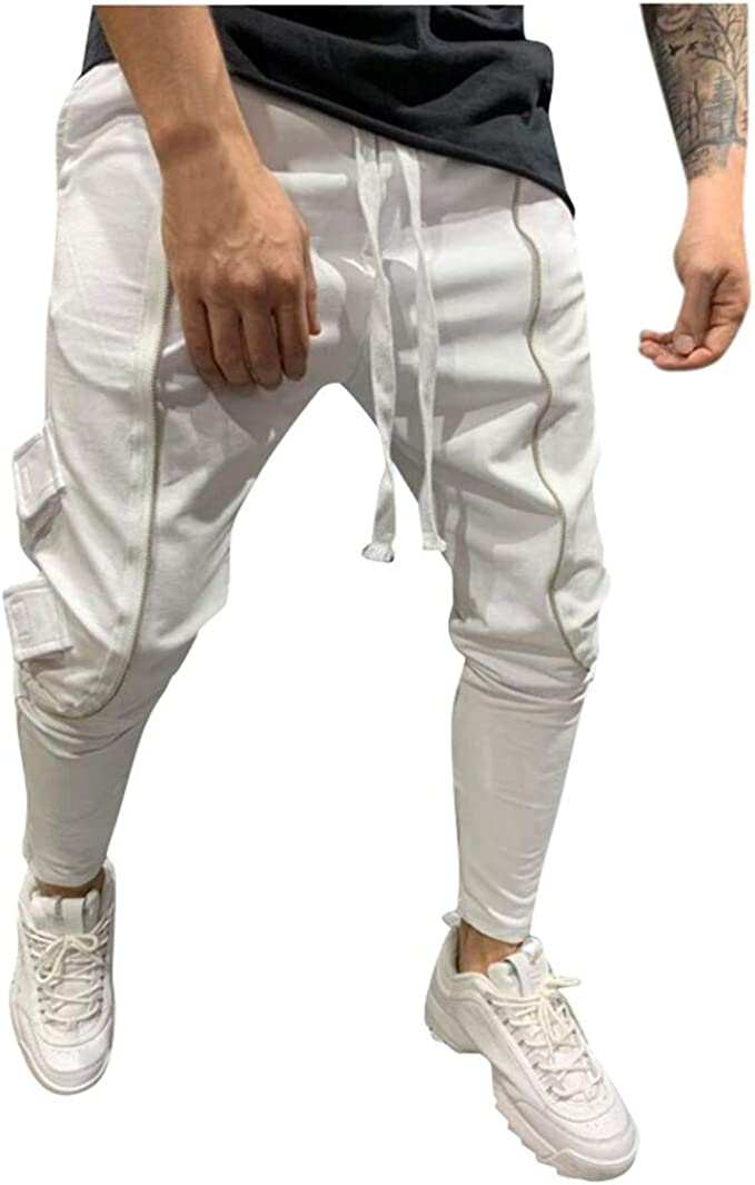 vegetariano Viaggio Attivamente  FRAUIT Pantaloni Elastico Caviglia Uomo Hip Hop Stretto Ragazzo Pantaloni  Tuta Cargo con Tasche Laterali Uomini Pantalone da Lavoro Estivi Slim Fit  Leggeri Elegante Jogging Running: Amazon.it: Abbigliamento