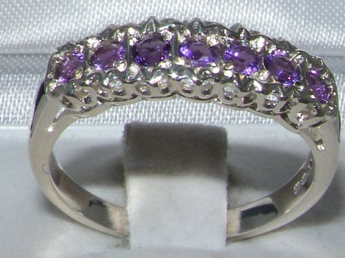 925 Sterling Silver Natural Amethyst Womens Eternity Ring - Sizes 4 to 12 Available