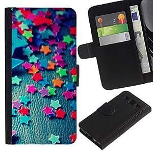 iKiki Tech / Cartera Funda Carcasa - Stars Candy Decoration Design Party Colorful - Samsung Galaxy S3 III I9300