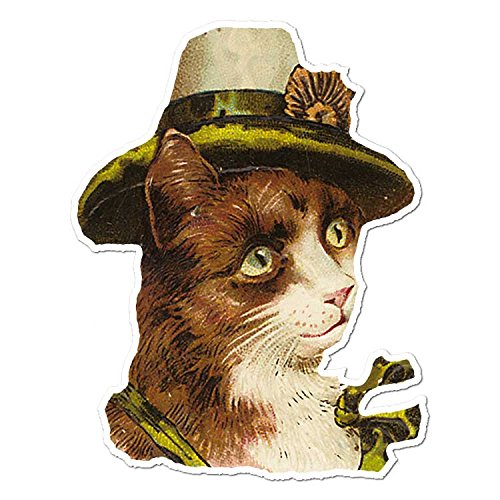 Cat In a Leprachaun Hat - Vinyl Decal Sticker - Vintage Painting - 3.75