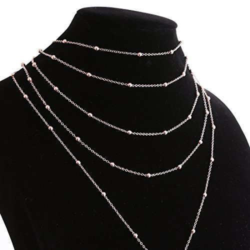 Lariatneck Multilayer Y Necklace Exquisite Sequins Beads Choker Necklace with Long Chain Drop Pendant