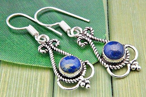 Boucles d'oreilles plaqué argent avec lapis lazuli 12 mm x 40 mm
