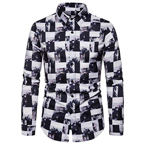 T-Shirts Mens GREFER 3D Printed Tops Long Sleeve Dress Shirt Casual Button-Down Shirts for Men Big and Tall White