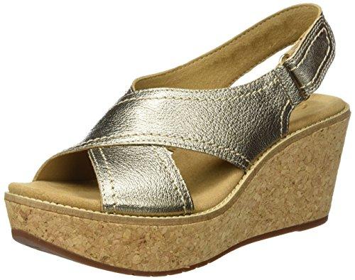 Clarks Aisley Tulip, Sandalias con Cuña para Mujer Varios Colores (Gold Metallic)
