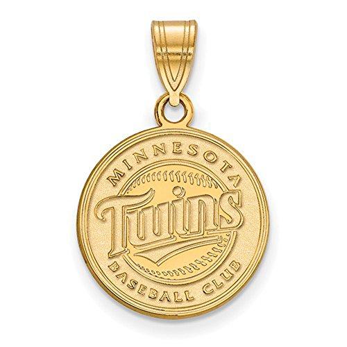 Minnesota Twins Logo Medium Disc Pendant (10K Yellow Gold)