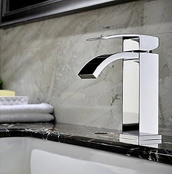 SUMERAIN Waterfall Bathroom Sink Faucet Brass Chrome Finish Basin Faucet