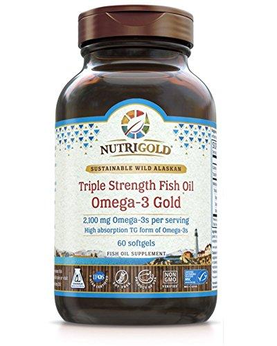 Nutrigold Omega-3 GOLD - Triple Strength - 60 Softgels - (1060 mg Omega-3s per Softgel) (Pharmaceutical Grade 85% Omega-3 Fish Oil) - 1,250 mg