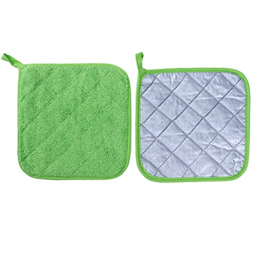 Lifaith 100% Cotton Kitchen Everyday Basic Terry Pot holder Heat Resistant Coaster Potholder for Cooking and Baking Set of 5 Apple Green by Lifaith (Image #1)