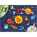 """KC Cubs Playtime Collection Space Safari Road Map Educational Learning & Game Area Rug Carpet for Kids and Children Bedrooms and Playroom (3' 3"""" x 4' 7"""")"""