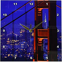 3dRose dpp_88427_1 Transamerica, Golden Gate Bridge, San Francisco, CA - US05 JGS0010 Jim Goldstein Wall Clock, 10 by 10-Inch
