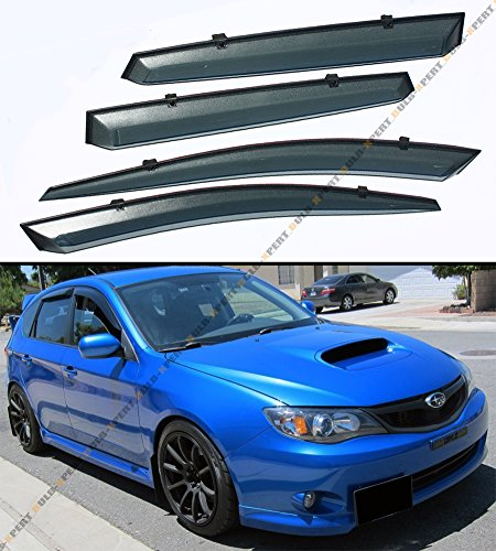 Cuztom Tuning FIts for 2008-2014 Subaru Impreza WRX STi JDM Clip-On Smoke Tinted Window Visor Vent Weather Guard
