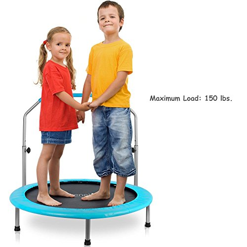 """Serenelife Portable & Foldable Trampoline - 40"""" dia Springfree Rebounder Jumping Mat Safe for Kid w/ Padded Frame Cover and Adjustable Handlebar and Carry Bag"""
