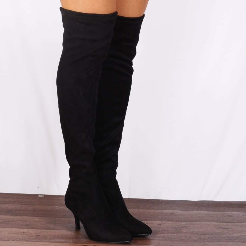 1f17ebdd3835 Shoe Closet Ladies Black Sock Stretch Kitten Heel Over the Knee Boots  UK8 EURO41 AUS9 USA10  Amazon.co.uk  Shoes   Bags