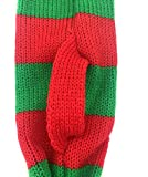Stripe Pet Xmas Costume Christmas Scarf for Small Dogs & Cats Holiday Accessory, Red Green Stripe Small / Medium