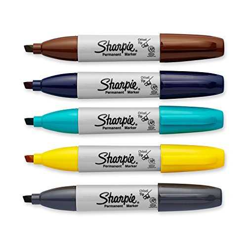 Sharpie Permanent Markers, Broad, Chisel Tip, 5-Pack, Assorted 2015 Colors (1927321) by Sharpie (Image #2)