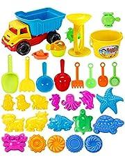 Molinte Set of 31 Baby Kid Beach Toys with Castle Bucket Car Spade Shovel Rake Kettle Kids Children Sand Toys