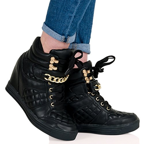 ByPublicDemand Madelyn Womens Hidden Wedge Heel Lace Up Quilted Trainers Black Faux Leather Size 4 UK ilPvsvx9