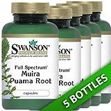 Swanson Muira Puama 400 (Five Bottles each of 90 Capsules) 450 Capsules