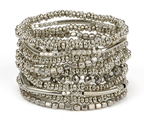 SPUNKYsoul New! Handmade Boho Gold or Silver Toned Bracelet Elastic Stretch Bracelet for Women Collection ()