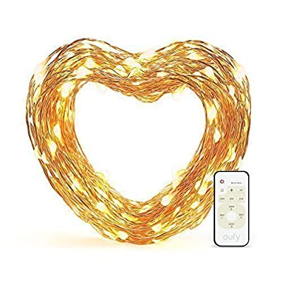 eufy 33 ft LED Decorative Lights Dimmable with Remote Control, Starlit String Lights, Indoor and Outdoor, for Holiday, Wedding, Party (Copper Wire, Warm White) - Set the Mood: Use warm white lighting to make any environment sparkle and create the perfect ambiance. Adjustable Brightness: 24 brightness levels and multiple effects add flair to any space and provide the ideal atmosphere for any occasion. Remote controlled to easily customize illumination. Complete Safety: UL certification, insulated copper wire and low temperature LEDs ensure the lights strings are safe to touch no matter how long they're lit. - patio, outdoor-lights, outdoor-decor - 51ESAbPo 3L. SS400  -