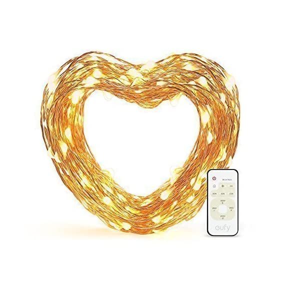 eufy 33 ft LED Decorative Lights Dimmable with Remote Control, Starlit String Lights, Indoor and Outdoor, for Holiday, Wedding, Party (Copper Wire, Warm White) - Set the Mood: Use warm white lighting to make any environment sparkle and create the perfect ambiance. Adjustable Brightness: 24 brightness levels and multiple effects add flair to any space and provide the ideal atmosphere for any occasion. Remote controlled to easily customize illumination. Complete Safety: UL certification, insulated copper wire and low temperature LEDs ensure the lights strings are safe to touch no matter how long they're lit. - patio, outdoor-lights, outdoor-decor - 51ESAbPo 3L. SS570  -