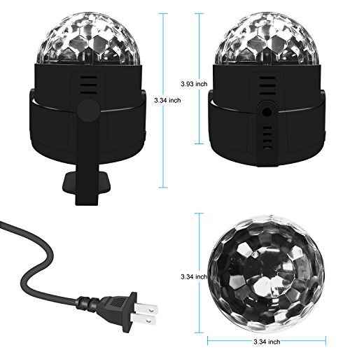 Stage Party Lights - Costech Portable Sound Activated DJ Lighting; RGB Auto Rotating Disco Ball; Strobe Lamp Stage Par Light; 7 Color Changing Crystal LED Ball for Club Pub/ Disco DJ Show by CT COSTECH (Image #1)