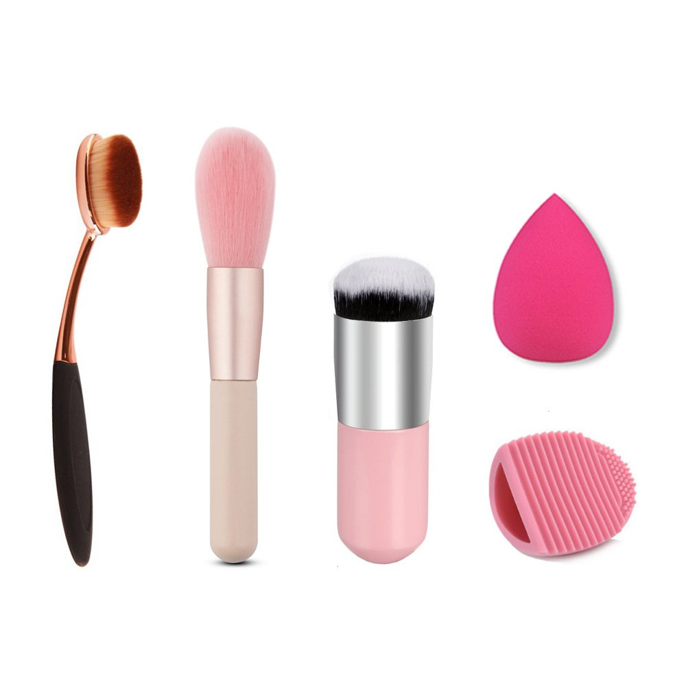 BeautyCoco Makeup Brush Oval Toothbrush Curve Foundation Powder Brush Large Round Blush Makeup Brush Cleaner Brushegg Flawless Cosmetic Sponge Puff - 5 PCS Makeup Tools
