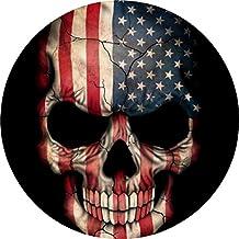 W01 AMERICAN FLAG SKULL HUGE - Vinyl Head Cornhole Wraps Fat Tint Quote Quotes Art Poster Image Corn Hole