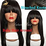 Brazilian Full Lace Wigs Straight Human with Bang Hair Glueless Lace Front Wigs for Black Women Full Lace Human Hair Wigs with Baby Hair (18 inch 180% density, lace frontal wig)