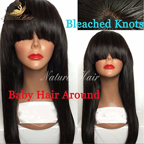 Brazilian Full Lace Wigs Straight Human With Bang Hair Glueless Lace Front Wigs For Black Women Full Lace Human Hair Wigs With Baby Hair (24 Inch 180% Density, Lace Frontal Wig) by Dream Beauty