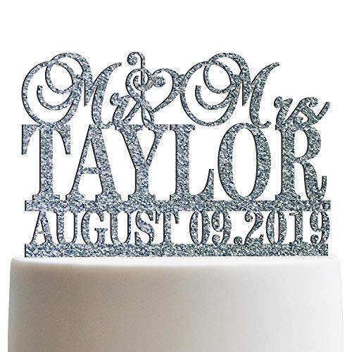 Clef Sign Personalized Wedding Cake Topper Mr Mrs Customized Cake Topper Music Symbol | Glitter Cake Toppers
