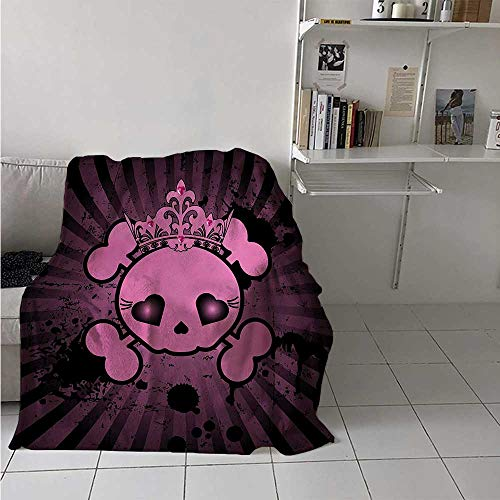 maisi Skull Weave Pattern Extra Long Blanket Cute Skull Illustration with Crown Dark Grunge Style Teen Spooky Halloween Print Custom Design Cozy Flannel Blanket 80x60 Inch Pink -