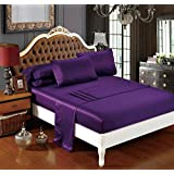 DelbouTree Silky Soft Solid Matte-Satin Bed Sheet Sets Shiny-Free,Deep Pocket Queen 4 Pieces, Plum