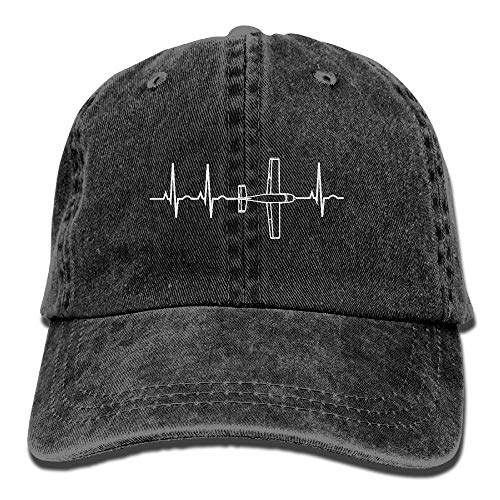 Airplane Pilot Heartbeat Vintage Washed Dyed Dad Hat Adjustable Baseball Cap Black