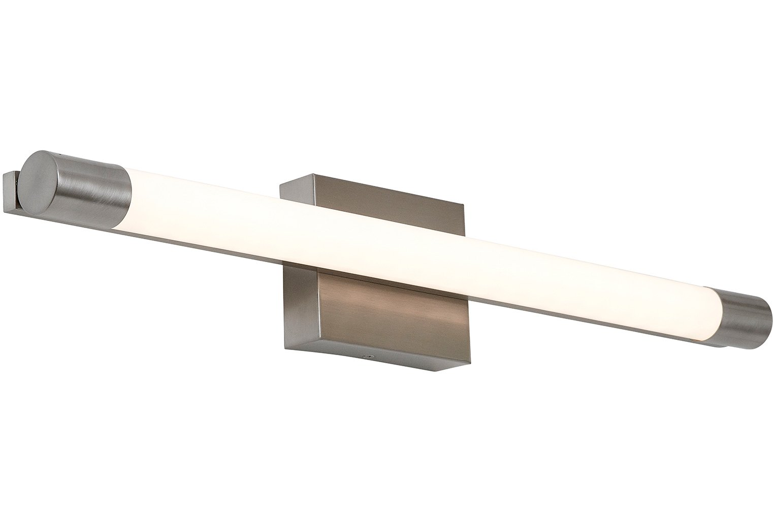 "New Slim Line Modern Frosted Bathroom Vanity Light Fixture | Contemporary Sleek Dimmable LED Cylinder Bar Design | Vertical or Horizontal Tube Wall Sconce | 3000K Warm White 28"" - SOPHISTICATED DESIGN: A simple clean light bar offers modern design with beautiful lines and a contemporary feel. Brushed nickel finishes encapsulate a cylindrical glass free frosted sconce with even light distribution and exceptional color accuracy. 3000K LED lights offering a warm feel unlike the harsh fluorescent white-light alternatives. LED annual energy savings. SAFE AND EASY TO INSTALL: Our authentic dimmable bar lights are ETL & cETL Certified for the US and Canada. Energy efficient with 50,000 hours rated lifetime. Instant on, no flicker, no UV, mercury free light. 23W, 1200 Lumens, 120V with 80+ CRI. Full instructions included with standard three wire install makes installation a breeze. 3 GENERATIONS OF EXCELLENCE: Our family has been manufacturing and producing household fixtures and decorative pieces for over 3 generations. We stand by the quality of our product and your experience. A family owned business with simple principles. Money Back Guarantee. - bathroom-lights, bathroom-fixtures-hardware, bathroom - 51ESBEs9EjL -"