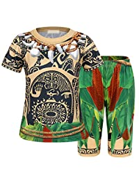 Jurebecia Maui Pajamas Set Short Sleeve Clothes Toddler Kids Sleepwear Dress Up